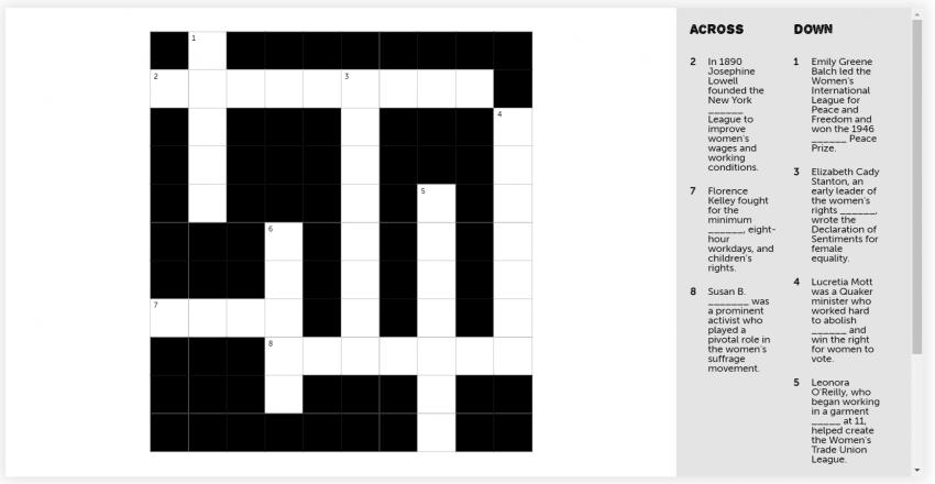 Crossword mini puzzle